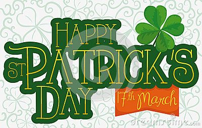 Banner with greeting design for St. Patrick's Day with a four leaf clover and reminder date of its festivity in orange ribbon and hand drawn shamrocks in the background.