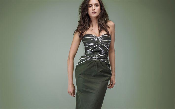 Download wallpapers Nina Dobrev, photoshoot, green dress, canadian actress, portrait, photo 2018, beautiful woman, Hollywood star