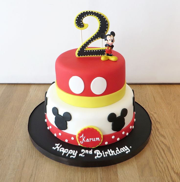 2 Tier Mickey Mouse Birthday Cake - The Cakery Leamington Spa