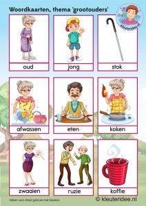 Woordkaarten voor kleuters, opa en oma 2, kleuteridee.nl, kinderboekenweek 2016, thema grootouders, free printable.