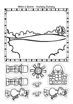 I've just been having so much fun making my next nursery rhyme unit that I thought I'd share a page with you all.     Humpty Dumpty - Make a Scene.  Have the children color all the pieces, then cut them out and make a scene with them.  Thanks so much for visiting, Deborah The Paper Maid