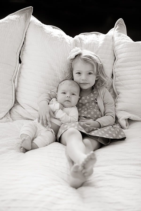 big sister and baby newborn infant birth announcement card Christmas photo picture