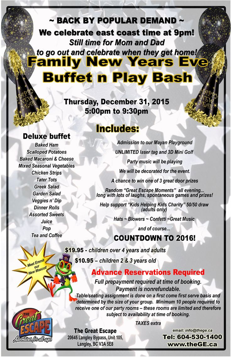 Family New Years Eve Buffet n Play Bash 2015-2016  - Family fun ! #Langley #Abbotsford #SurreyBC #Delta #WhiteRock #NewYearsEVE