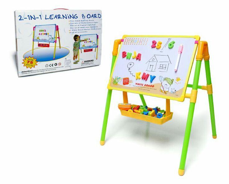 Pizarra con atril y accesorios (letras del abecedario)  odeal para que los niños practiquen como escribir su nombre,  o simplemente descibran su talento con los dibujos.