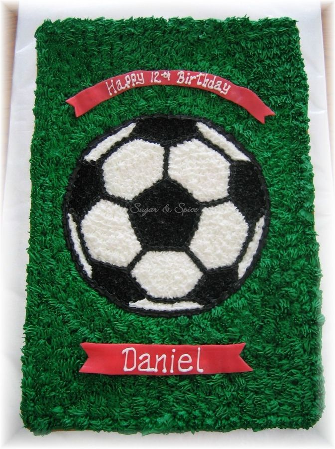 ...Another soccer cake (we have lots of soccer players in the family LOL!)...this one is for my nephew's birthday. He was bringing this to soccer practice to share with his teammates. Cookie cake decorated in buttercream. Airhead candy banners.