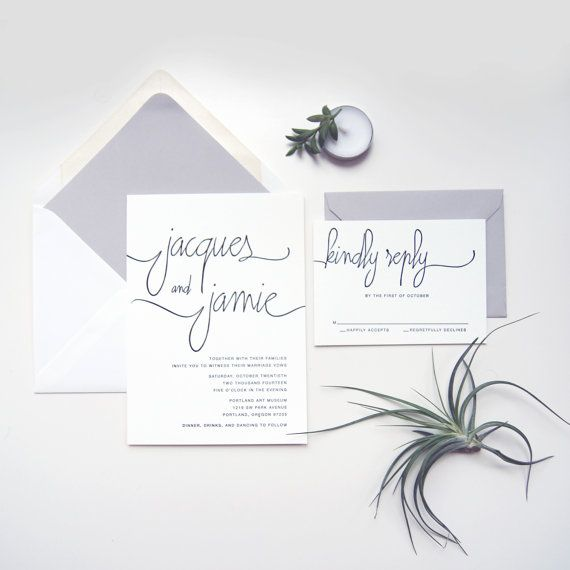 SAMPLE : Modern Calligraphy Letterpress Wedding Invitation (digital printing also available) on Etsy, $6.43 AUD