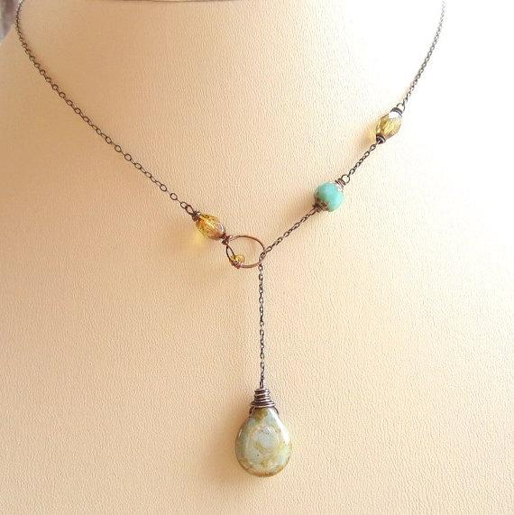 .necklace idea w/ drop-down chain.