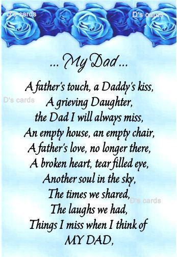 In loving memory/card/keepsake/Grave/dad/daddy/grandad ect fathers day birthday