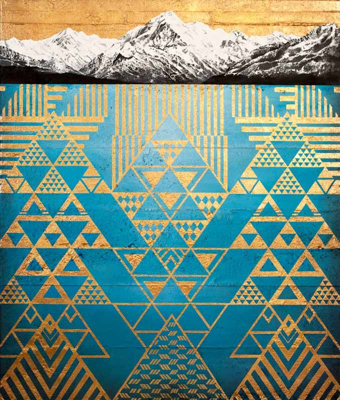 Krishna Aoraki Mt Cook painting with gold tukutuku by Sofia Minson
