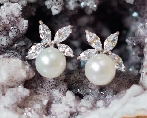 Vintage Style Pearl & Crystal Stud Earrings, Mary
