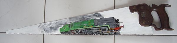 Braunton acrylic on a saw blade