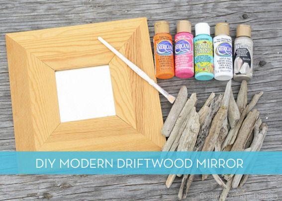 A modern way of using driftwood...     DIY Nautical Chic Driftwood Mirror
