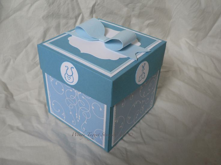 """Baby Boy Explosion boxMarina Mist, Bashful Blue,Whisper White,Pacific Point (ink),Baby Bundle,Fox and Friends, Teeny tiny sentiments, Petite Petals punch, 3/4 and 1"""" circle punch,word window ,Labels Collection,Square Lattice Embossing folder,Pearls,Cheerful Treat DSP"""
