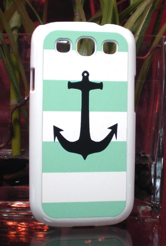 Samsung Galaxy S3 Cool Mint Green Nautical Anchor Print Case | eBay