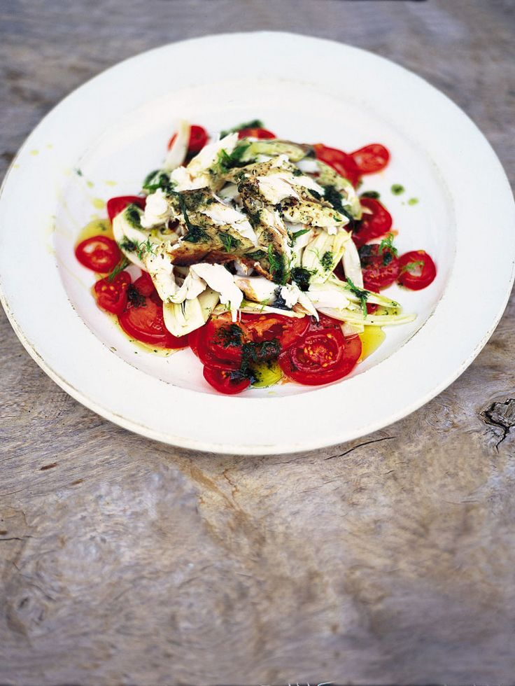 Fantastic tomato & fennel salad with flaked barbecued fish Italian-style herby fish with balsamic dressing | JamieOliver.com