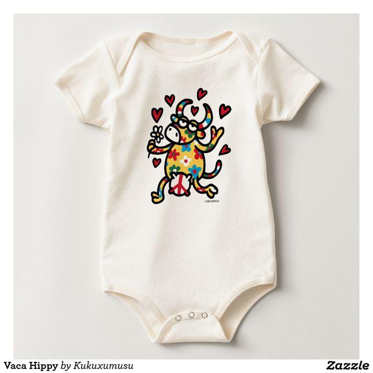 Vaca Hippy. Baby, bebé. Producto disponible en tienda Zazzle. Vestuario, moda. Product available in Zazzle store. Fashion wardrobe. Regalos, Gifts. #camiseta #tshirt