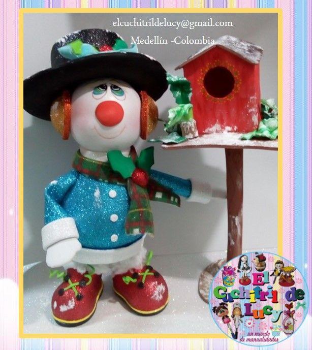 Muñeco de Nieve. Elaborado por El Cuchitril de Lucy