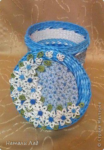 Поделка изделие Плетение Коробочки с цветочками Трубочки бумажные фото 3