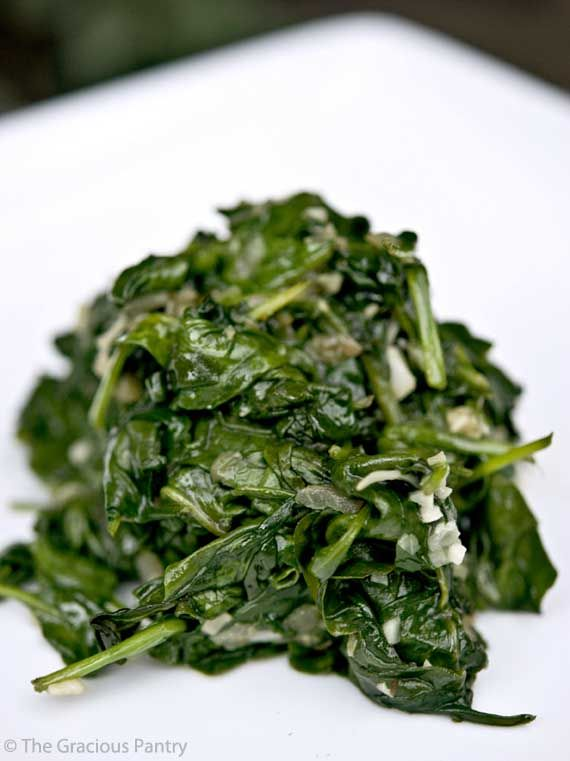 Clean Eating Garlic Spinach:  1 Shallot, 3 garlic cloves, 1 tbsp oil, 4 cups spinach.  Saute shallot & garlic for 1-2 minutes in oil then add spinach.