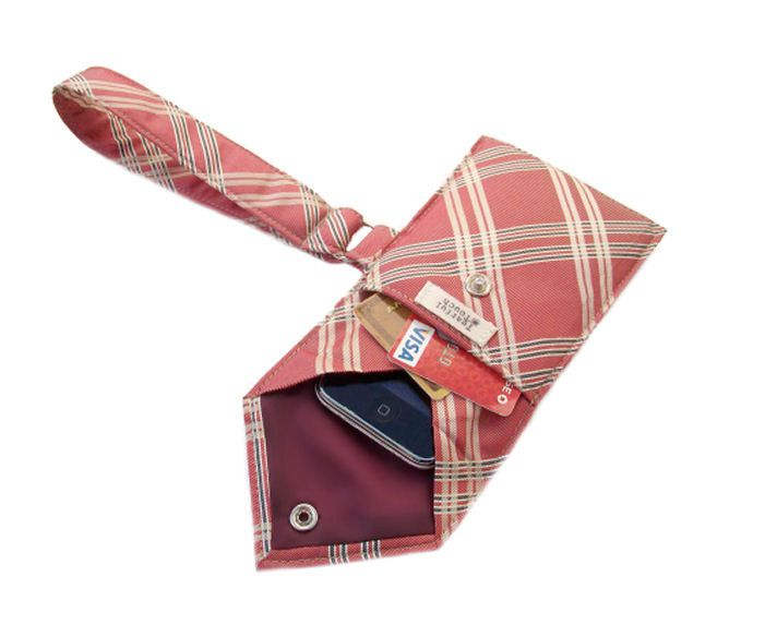 Recycled Men's Necktie Wristlet Red Plaid Cell Phone Wallet (iPhone Blackberry Droid HTC Samsung Smartphone iTouch iPod MP3 Camera Case). $20.00, via Etsy.