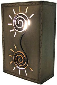 Incorporate dramatic southwestern lighting in any entry way or hall of your home with these Mexican tin wall sconces!  They feature unique stenciled designs and colorful marbles for a dramatic lighting effect and have an open top and bottom for plenty of light.  Pick up a set and complete your rustic dcor! Available in two different heights below.