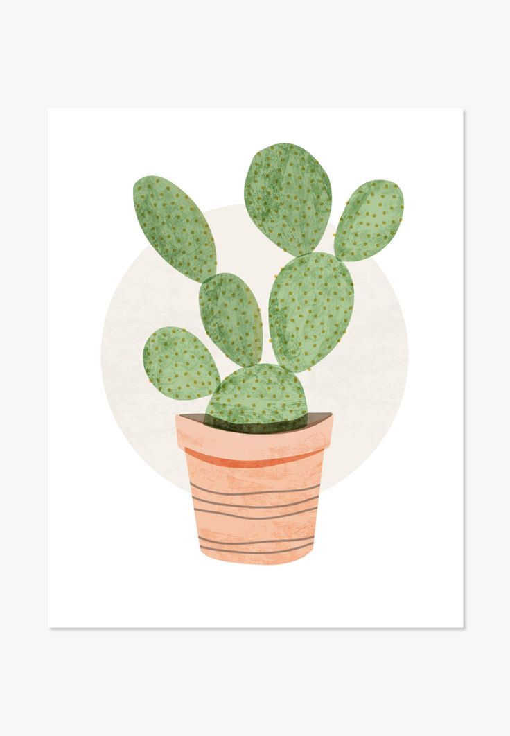 Original watercolor illustration of a prickly pear cactus. For home and office. A nice housewarming gift. One in a series of Cute Cacti - Archival full-color print on white matte cover paper - Sizes: