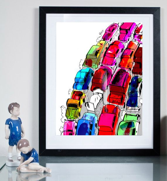 cars ... Illustration art giclée print Signed by TomekWawer #tomasz wawer #poster #bed #traffic