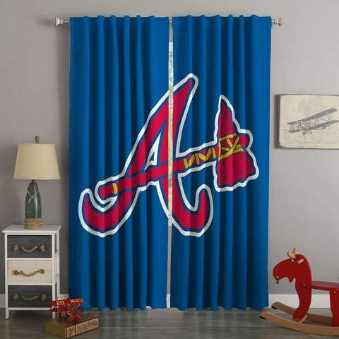 3D Printed Atlanta Braves Style Custom Living Room Curtains Corner Bay Window