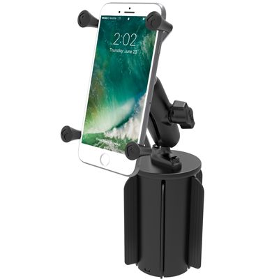 RAM-A-CAN™ II Universal Cup Holder Mount with Universal X-Grip® Large Phone/Phablet Cradle  Unpackaged - RAP-299-3-UN10U | RAM Mounts