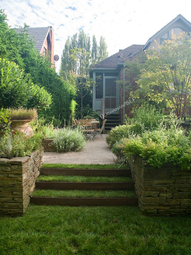 grass steps with retained planter boxes either side