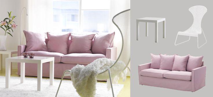 HÄRNÖSAND divano a tre posti con fodera Olstorp rosa chiaro e IKEA PS 2012 poltrona bianca