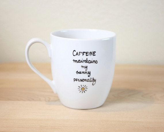 Quote Coffee Cup Christmas Gift for coffee lover by SylwiaGlassArt ...