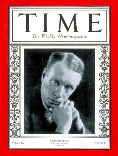 TIME Cover - Vol. 9 Nº 11: Sinclair Lewis | Mar. 14, 1927          http://en.wikipedia.org/wiki/Sinclair_Lewis
