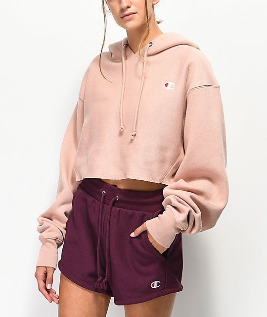 f08ef9fe Champion Reverse Weave Tan Crop Hoodie in 2019 | clothes | Cropped ...