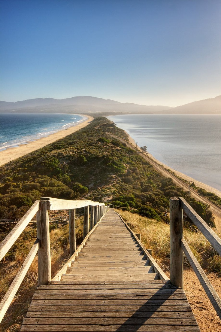 This is the sandy isthmus connecting North and South Bruny Island in Tasmania, Australia