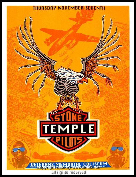 """Stone Temple Pilots poster (click image for more detail) Artist: EMEK Venue: Veterans Coliseum Location: Phoenix, AZ Concert Date: 11/7/1996 Size: 16"""" x 21"""" Con"""