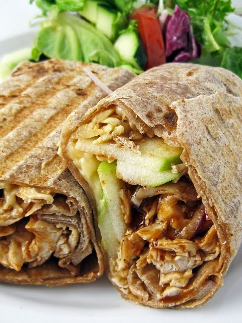 Grilled Barbecue Chicken, Apple, and Smoked Gouda Wrap recipe. Looks great paired with a salad.