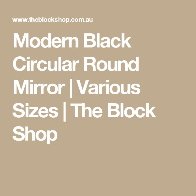 Modern Black Circular Round Mirror | Various Sizes | The Block Shop