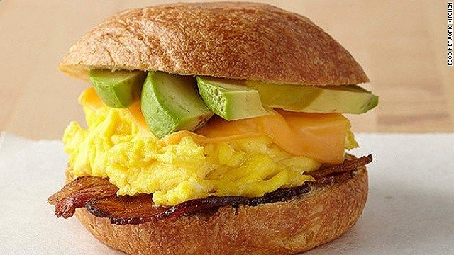 The egg sandwich at Food Network Kitchen in Terminal 3 at Fort Lauderdale International airport. The restaurant offers Florida-inspired dishes from grab-and-go and made-to-order menus as well as Guy Fieri and co. on TVs all day.