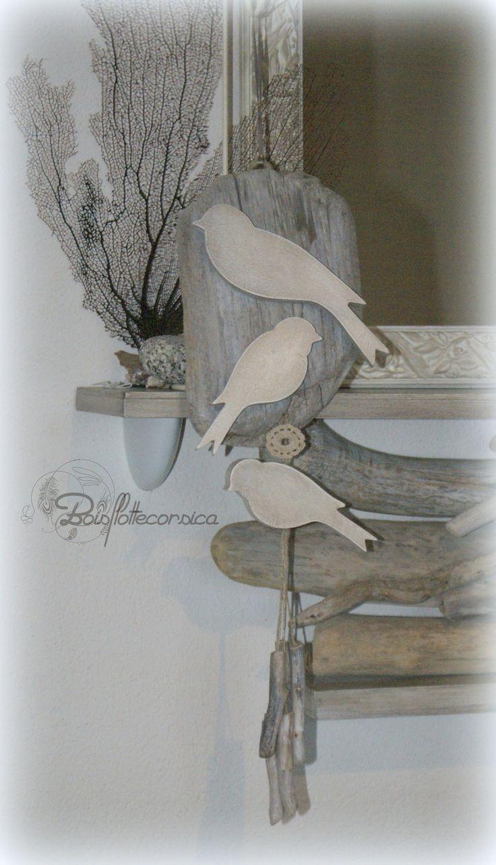 d coration plaque de bois flott et oiseaux en bois patin. Black Bedroom Furniture Sets. Home Design Ideas