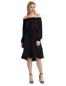 State of play Beacon Off The Shoulder Dress, Black product photo