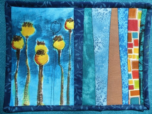 Poppy Pods painted with dyes on linen.