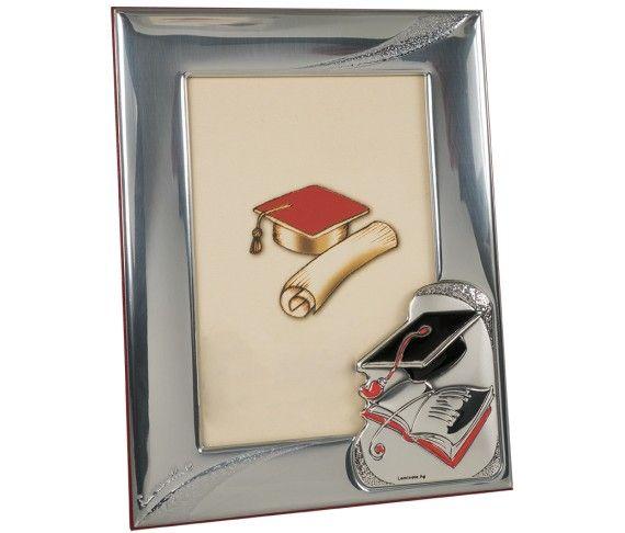28,40 € - Portafoto con placca laurea, realizzato in argento laminato, fantastica idea regalo per laurea, cm. 9x13.
