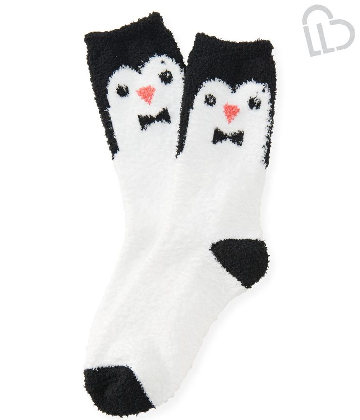 LLD Fuzzy Penguin Crew Socks from Aeropostale
