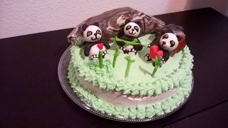 tarta de oso panda.nata +fondant, torta medvedik panda