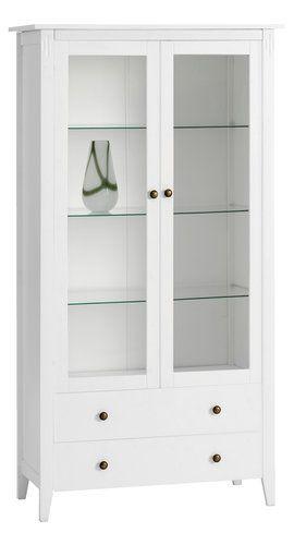 Vitrineskap AULUM 2 glassdører hvit | JYSK