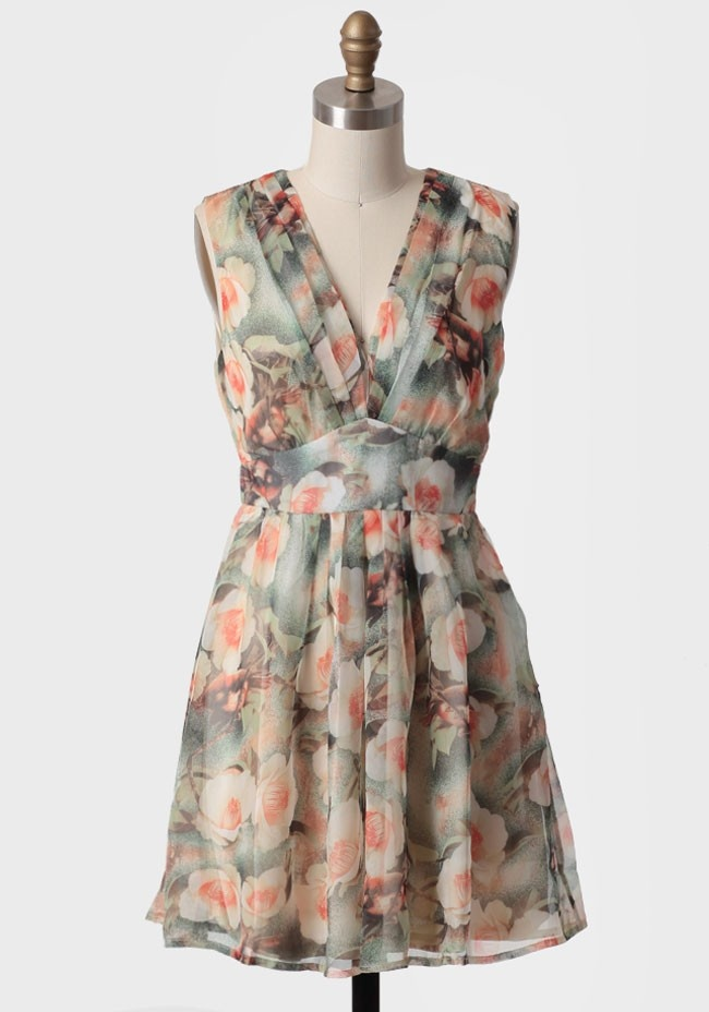 Graceful Sunrise Floral Dress | Modern Vintage Pastels