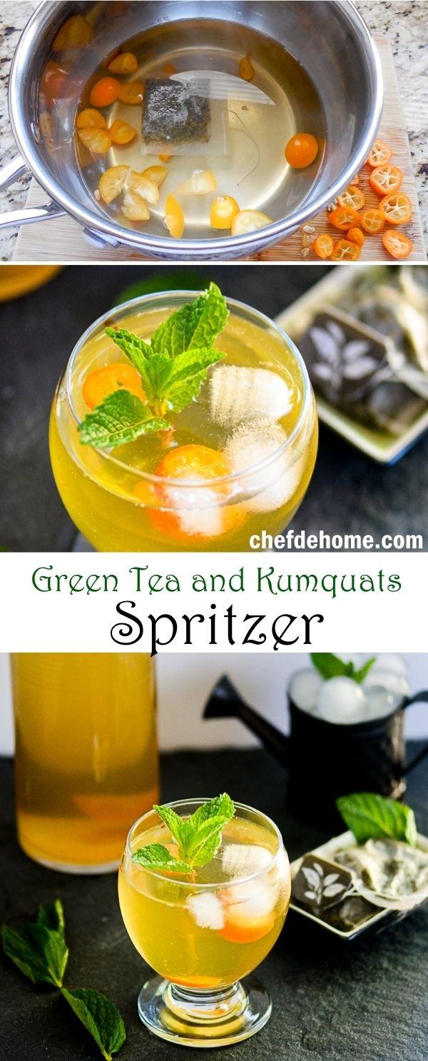 Sweet Green Tea and Kumquat Spritzer | chefdehome.com