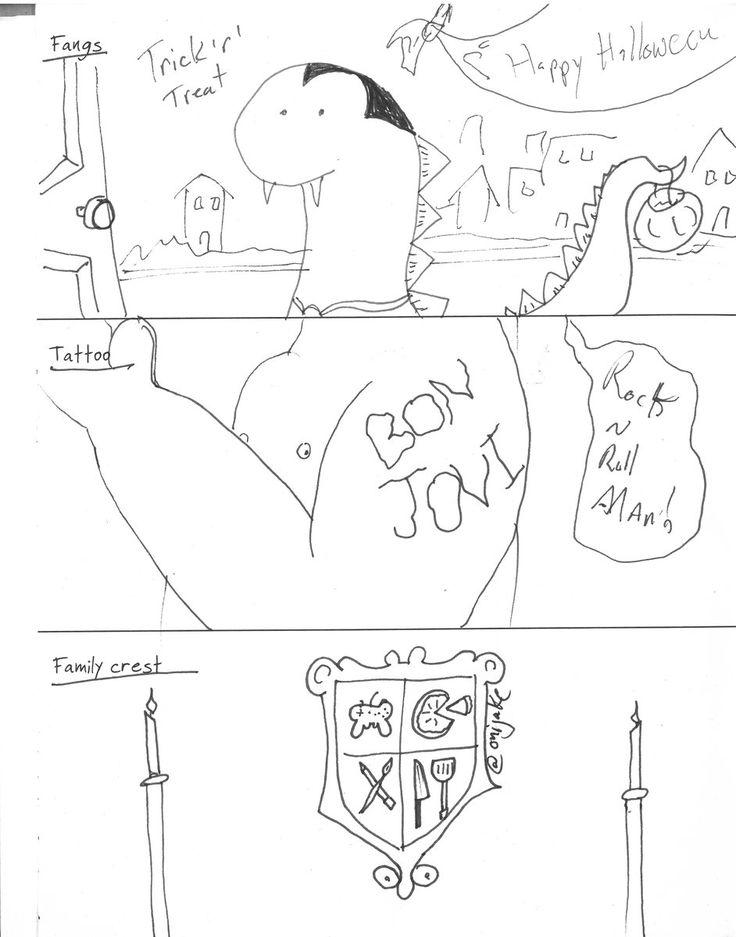 5 Fangs, 6 Tattoo, 7 Family Crest #drawing #doodle #drawingprompts #bonjoni #fangs #dinosaur #halloween #tattoo #tattoofail