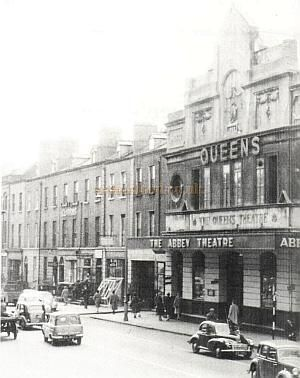 The Queen's Theatre, Pearse Street, Dublin. In 1909 the Theatre was remodeled and rebuilt by R.J.Stirling and reopened as the Queen's Theatre. In 1951 it was stated that the Queen's Theatre had a Proscenium arch, full flying facilities & orchestra pit and seated 904 on 4 levels. The Theatre became the temporary home of the Abbey Theatre Company between 1951 and 1966.